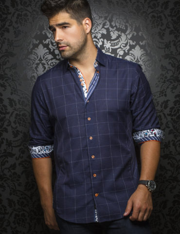 Aunoir Shirts long sleeves DAVIOS navy 0366