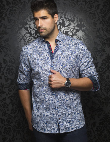 Aunoir Shirts long sleeves MANILA FLORAL royal 0265